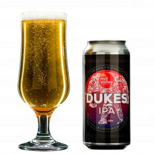 Dukes IPA in Glass With Can